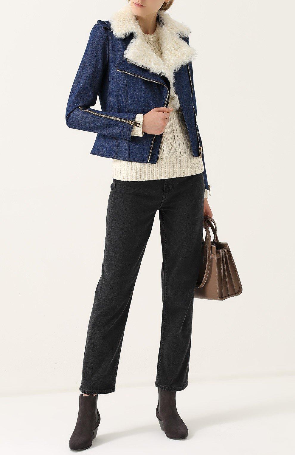джинсовая куртка косуха с мехом
