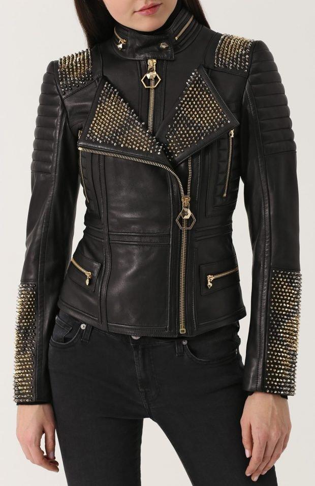 черная куртка косуха с декором