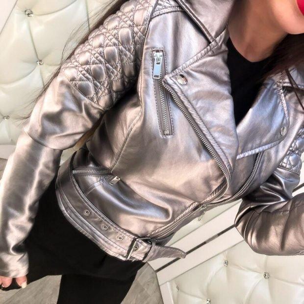 серебристая куртка косуха