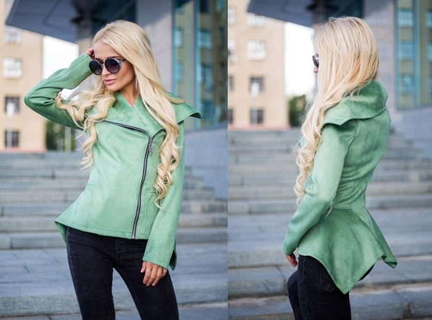 салатовая асимметричная куртка косуха