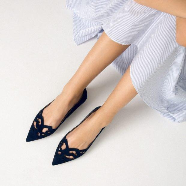 черные балетки с острым носком