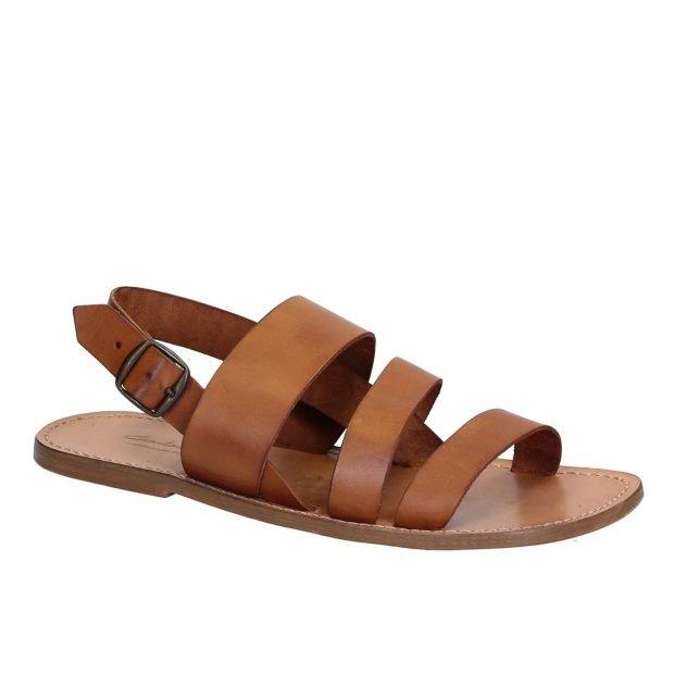 коричневые гладиаторские сандалии без каблука