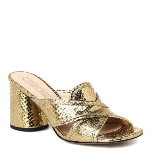 сабо золотого цвета на каблуке