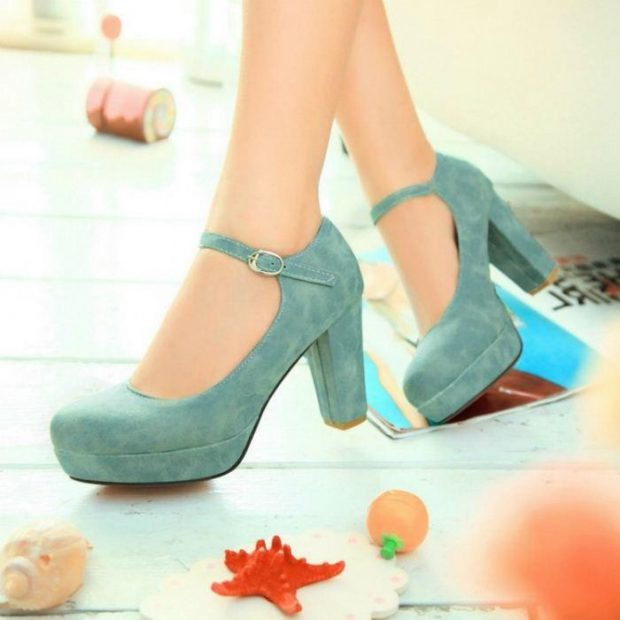 мятные замшевые туфли