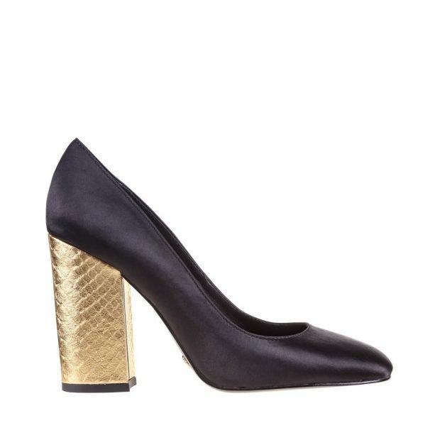 черные туфли с золотым каблуком