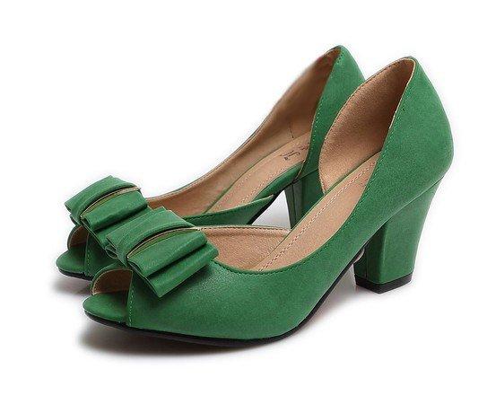зеленые туфли с бантом