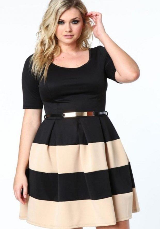 модное черное платье для полных с бежевыми полосами осень-зима 2019 2020