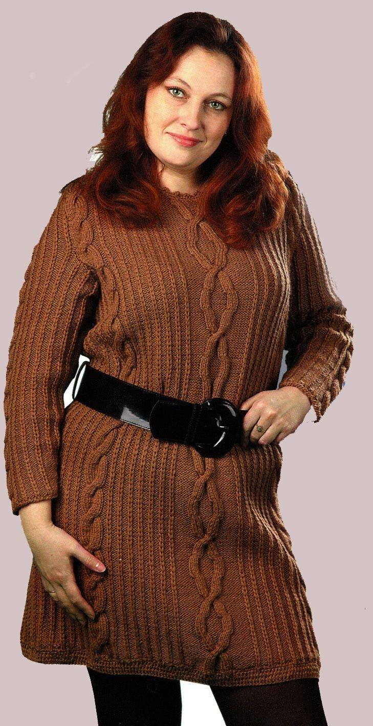 мода коричневый вязаный  свитер для полных осень-зима 2018 2019
