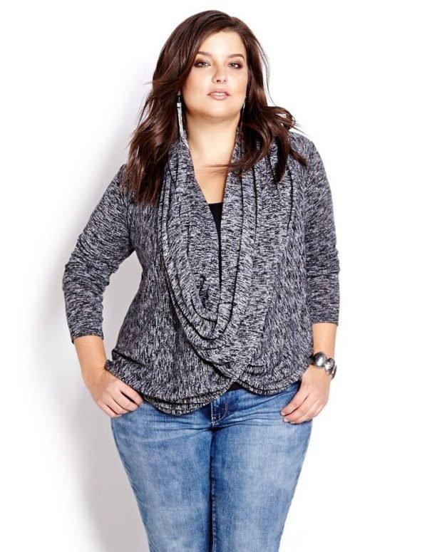 мода серый свободный свитер для полных осень-зима 2019 2020
