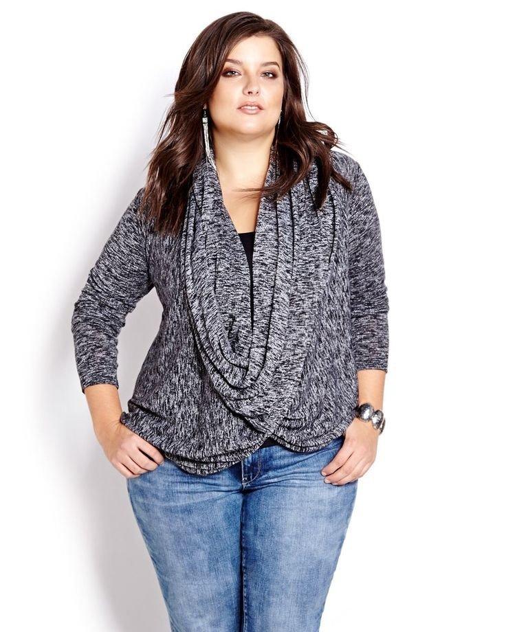 мода серый свободный  свитер для полных осень-зима 2018 2019