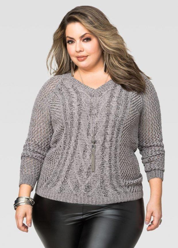 мода серый свитер для полных с узором осень-зима 2019 2020