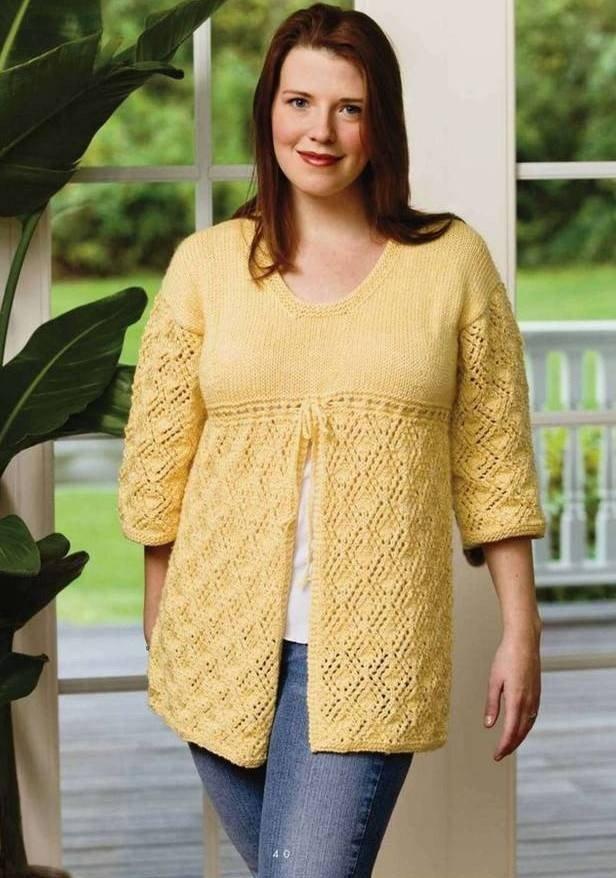 модный желтый вязаный свитер для полных осень-зима 2019 2020