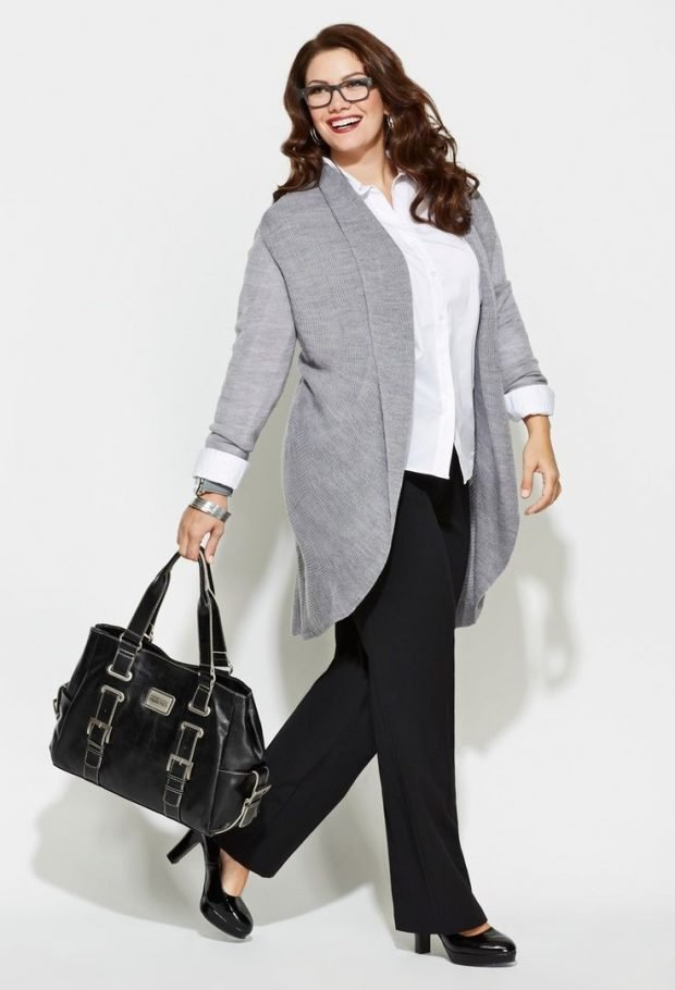 модный светло-серый свитер для полных осень-зима 2019 2020