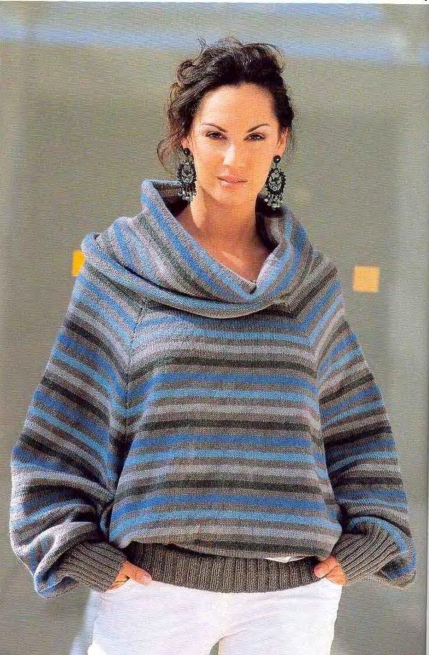 модный свитер для полных в полоску с воротником хомут осень-зима 2019 2020
