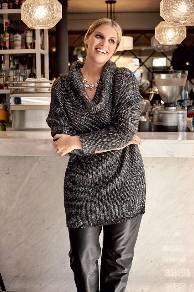 мода свитер для полных с воротником хомут осень-зима 2019 2020