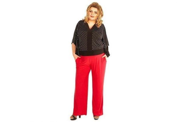 красные широкие брюки для полных осень-зима 2019 2020