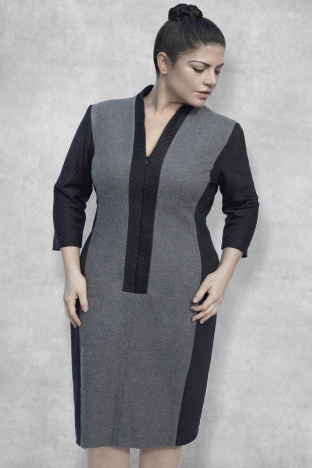 модное серое с черным повседневное платье для полных осень-зима 2019 2020