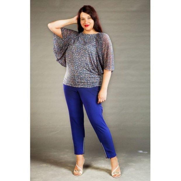 мода синие укороченные брюки для полных осень-зима 2019 2020