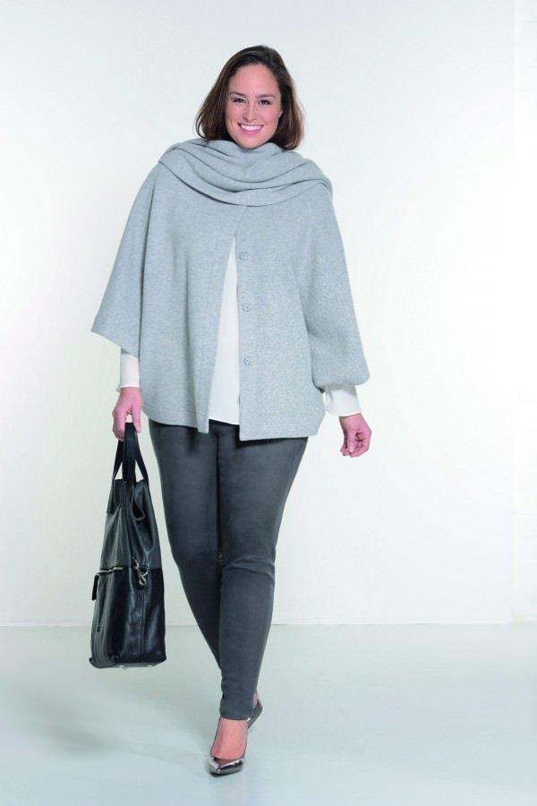 мода серые узкие брюки для полных осень-зима 2019 2020