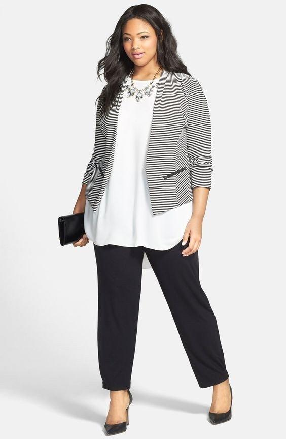 мода черные прямые брюки для полных осень-зима 2019 2020