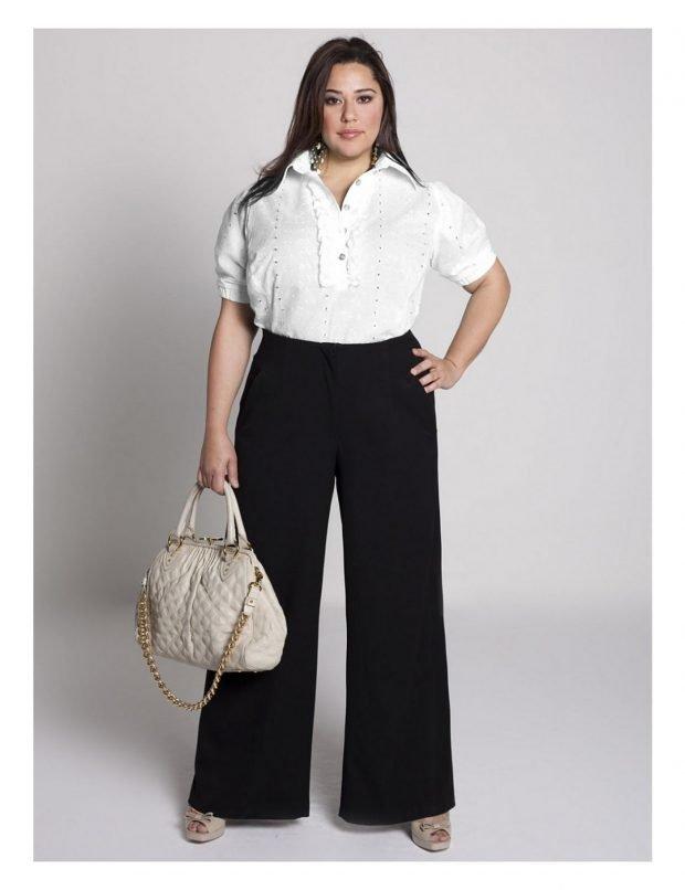 мода черные расклешенные брюки для полных осень-зима 2019 2020