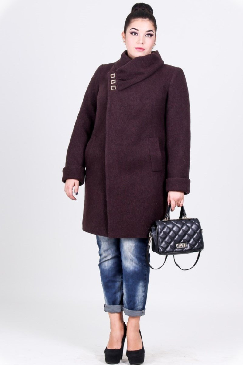 темное короткое пальто для полных осень-зима 2018 2019