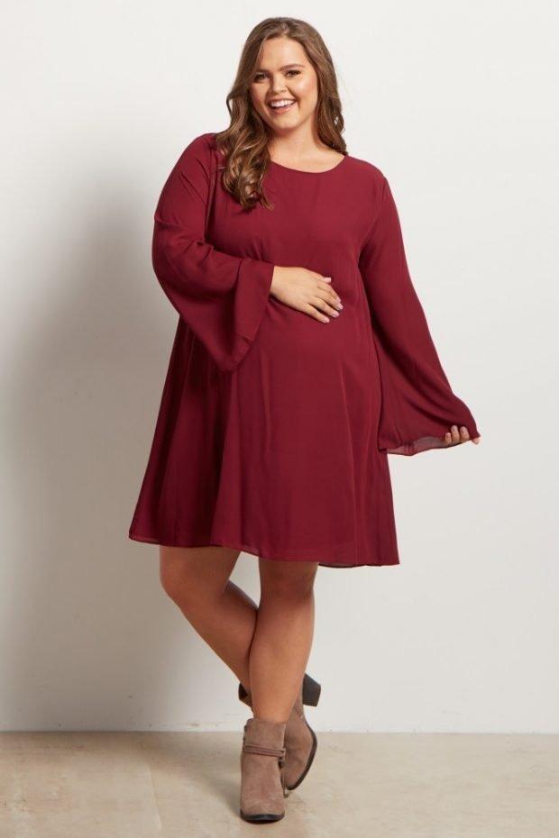 модное расклешенное платье для полных цвета марсала осень-зима 2019 2020