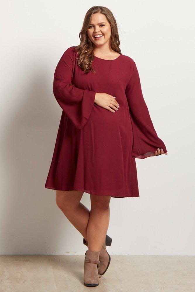 модное расклешенное платье для полных цвета марсала осень-зима 2018 2019