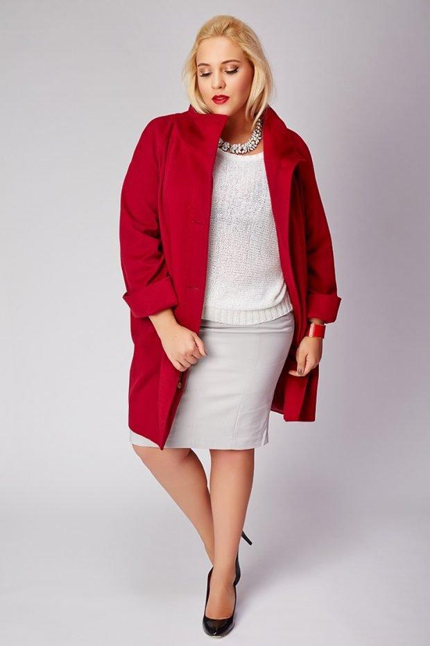 красное пальто для полных осень-зима 2019 2020