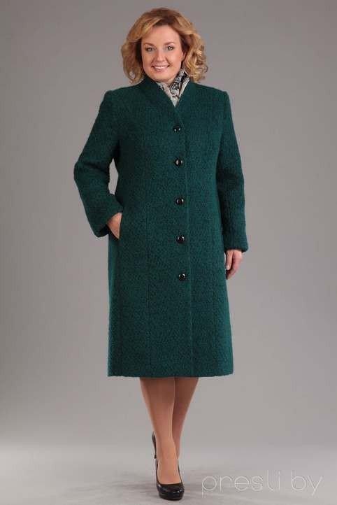 зеленое прямое пальто для полных осень-зима 2019 2020