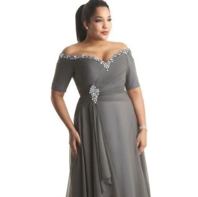 модное длинное серое платье для полных осень-зима 2019 2020