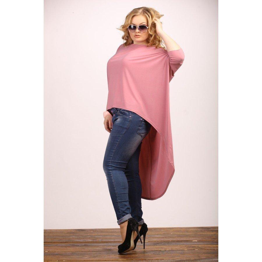 модная розовая удлиненная туника для полных осень-зима 2019 2020