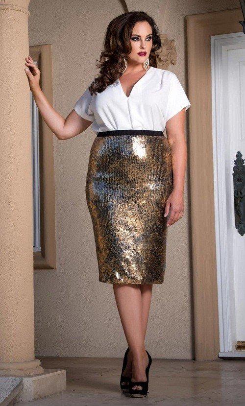 золотистая юбка карандаш мода для полных осень-зима 2019 2020