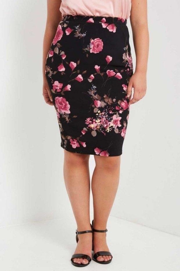 модная черная юбка с цветочным принтом для полных осень-зима 2019 2020