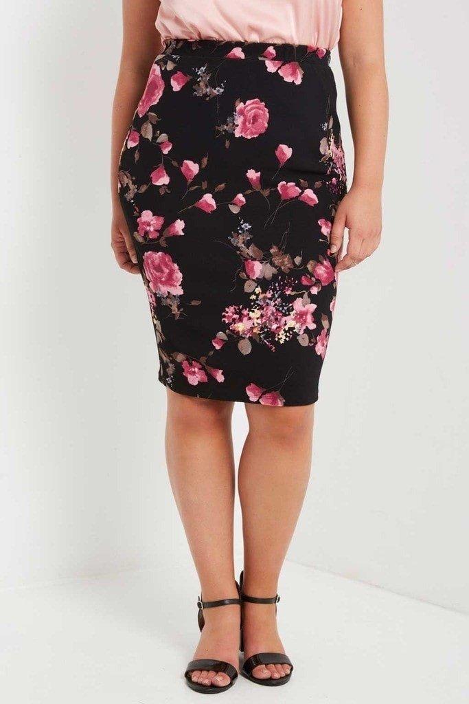 модная черная юбка с цветочным принтом для полных осень-зима 2018 2019