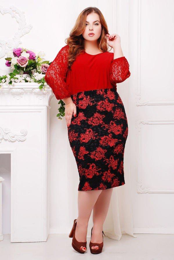 юбка миди мода осень-зима 2019 2020 для полных с красным принтом