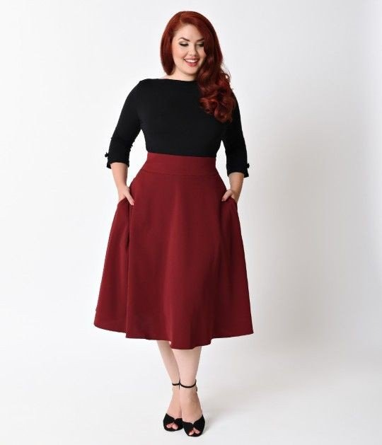 модная расклешенная юбка миди для полных цвета марсала осень-зима 2019 2020
