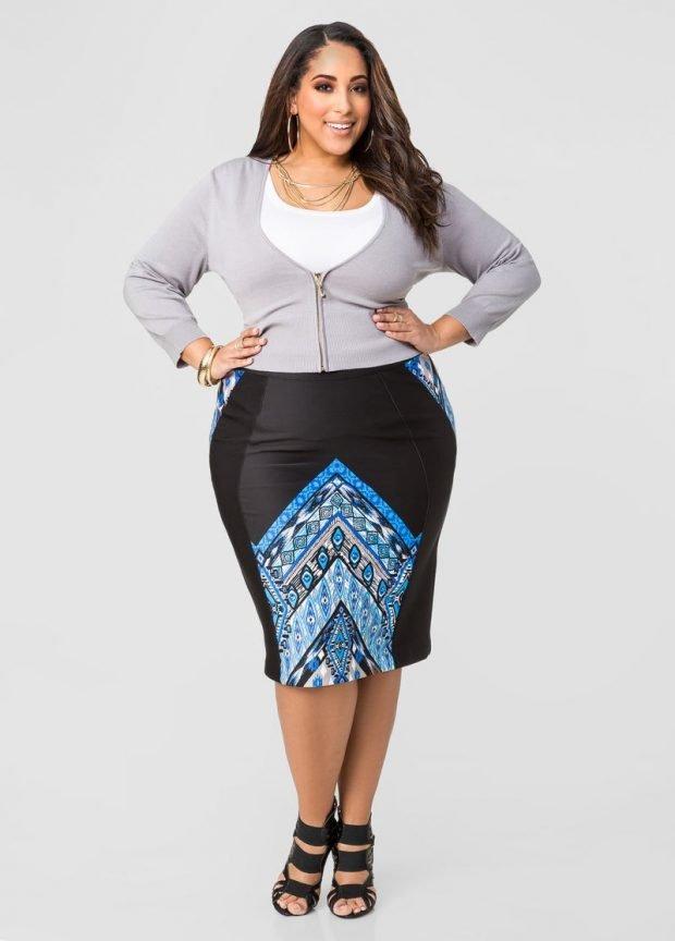 стильная черная юбка карандаш с принтом для полных осень-зима 2019 2020
