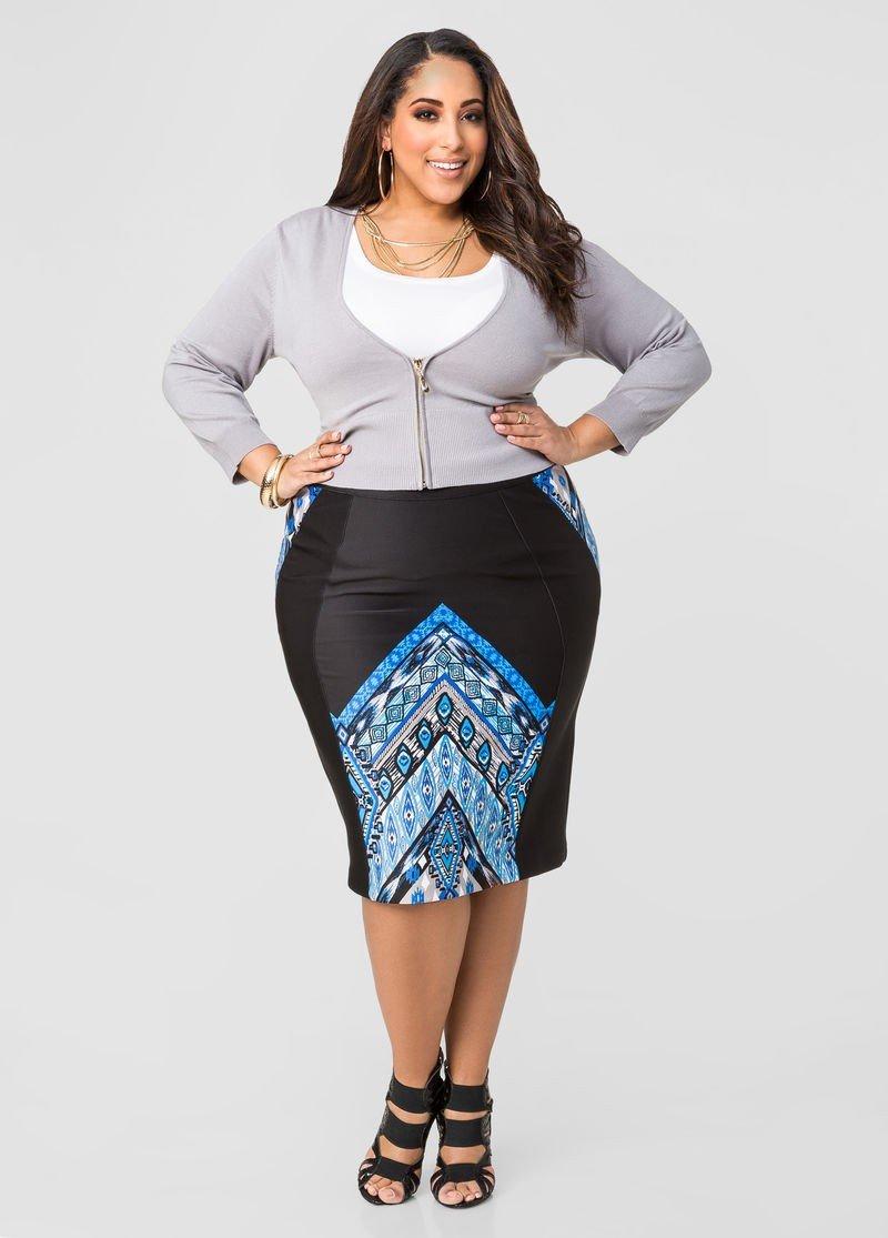 стильная черная юбка карандаш с принтом для полных осень-зима 2018 2019