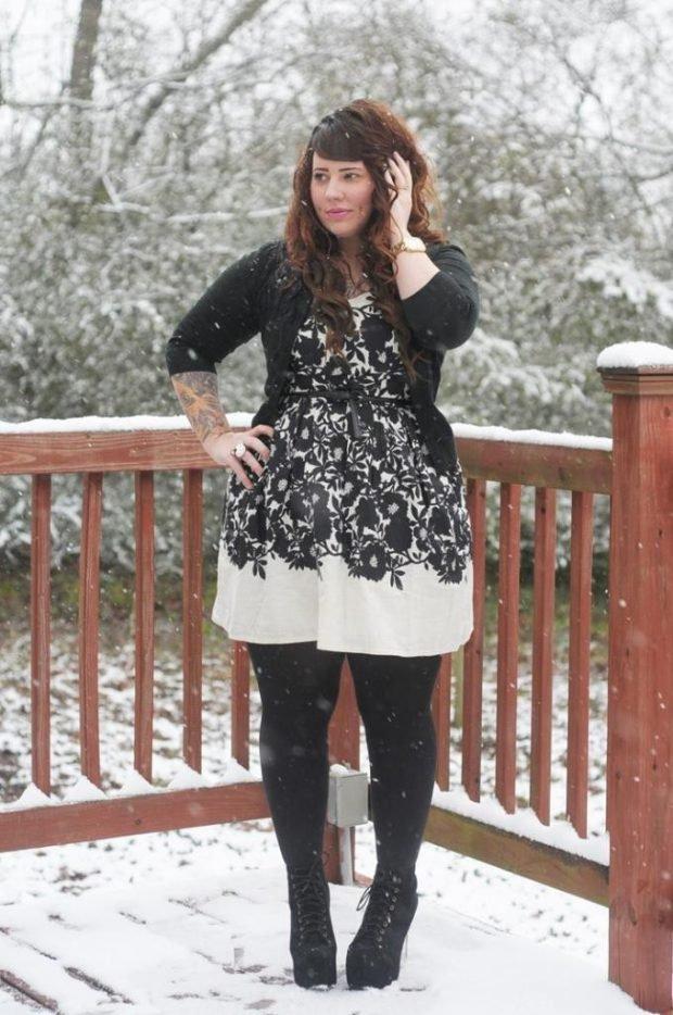 модное платье для полных осень-зима 2019 2020 с принтом кружево