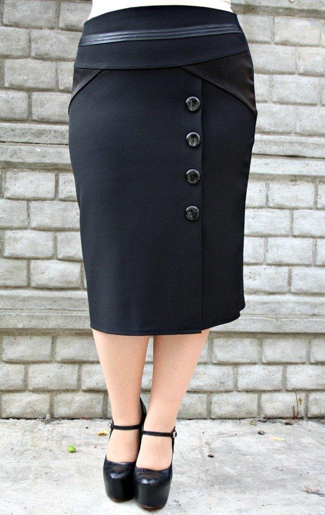 мода юбка карандаш для полных с пуговицами осень-зима 2020