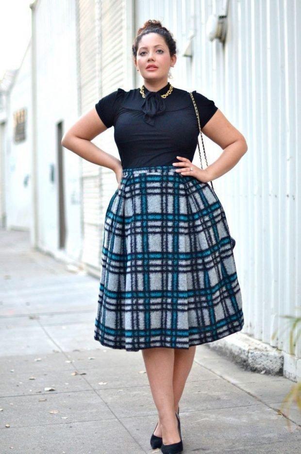 мода юбка миди для полных в клетку осень-зима 2019 2020