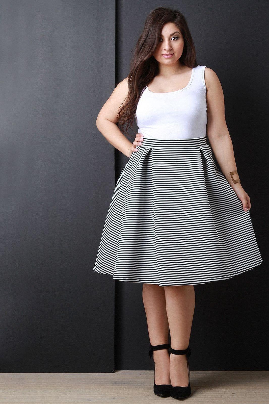 юбка в полоску мода для полных осень-зима 2018 2019