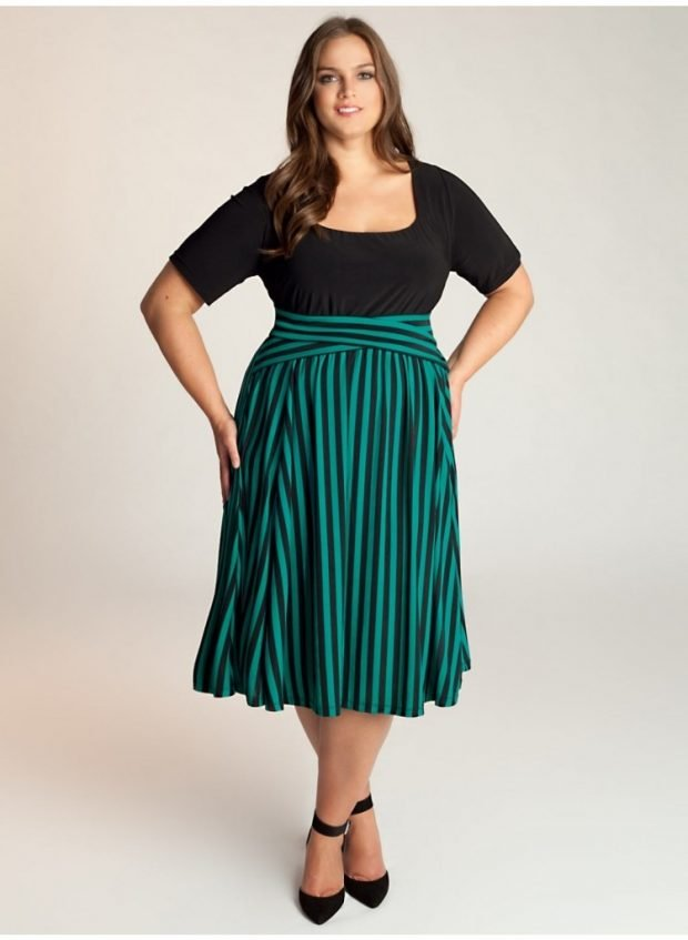 мода зеленая юбка миди для полных осень-зима 2020