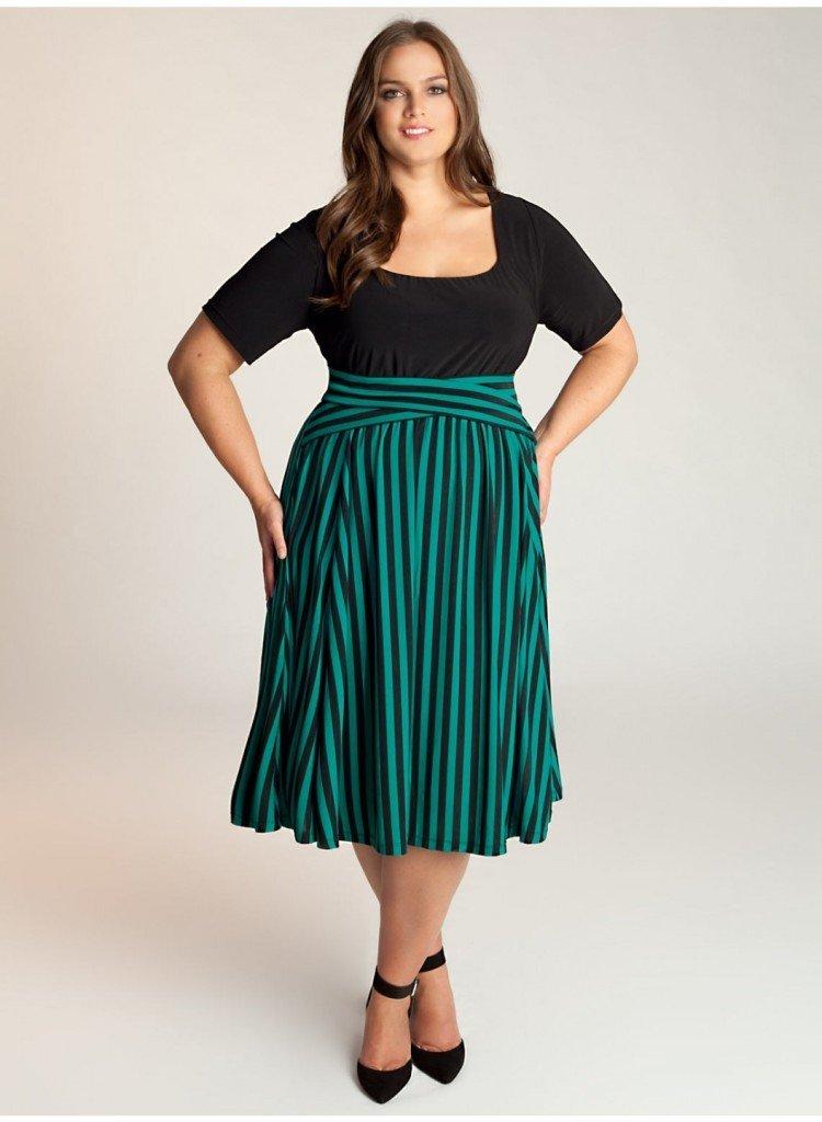 мода зеленая юбка миди для полных осень-зима 2018 2019