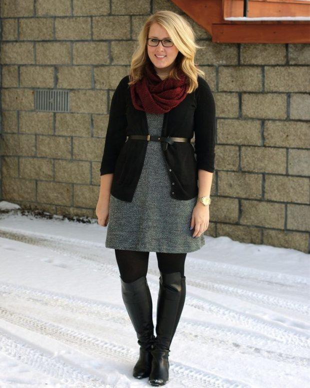модные образ с сапогами для полных осень зима 2019 2020
