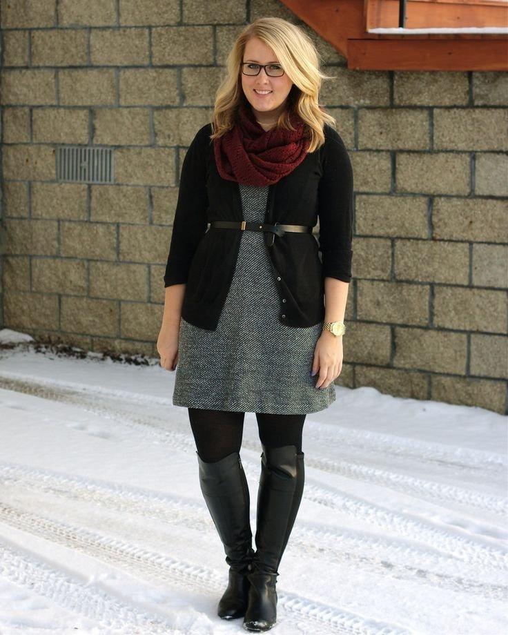 модные образ с сапогами для полных осень зима 2018 2019