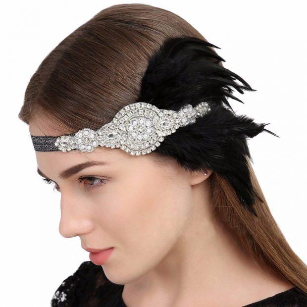 головные уборы весна-лето 2019: украшение на голову с перьями