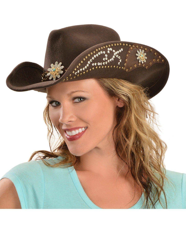 коричневая ковбойская шляпа с декором