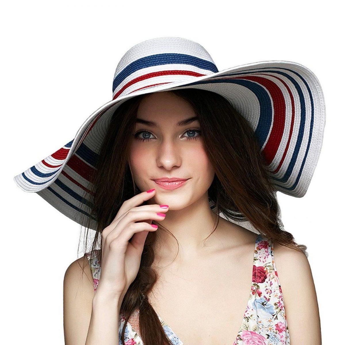 широкополая шляпа в полоску